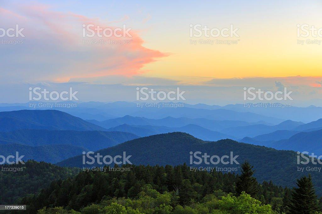 Cowee Mountain Overlook Sunset stock photo