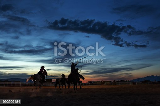 Silhouette of a cowboy and cowgirl at dusk competing in team roping at an evening rodeo.