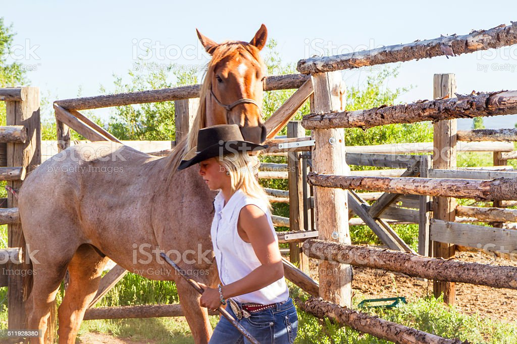 Cowgirl Breaking A Skittish Horse stock photo