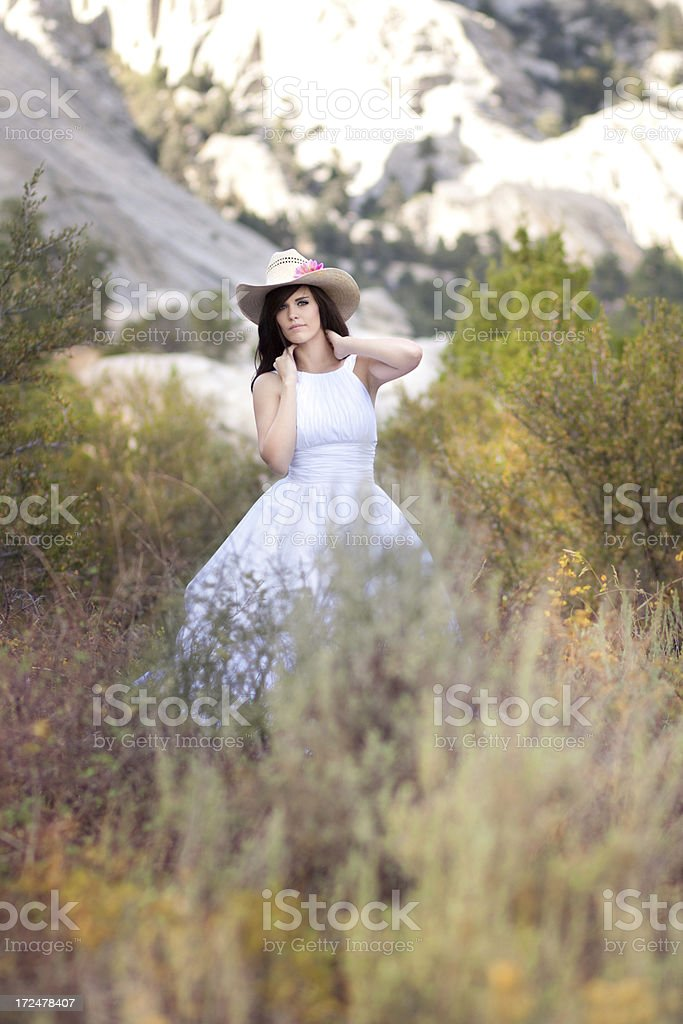 Cowgirl Bride in the Mountains royalty-free stock photo