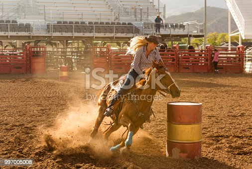 cowgirl cowboy riding horse at rodeo paddock arena at nephi of Salt lake City SLC Utah USA