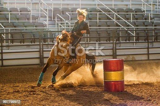 cowgirl cowboy riding horse at rodeo paddock arena at nephi of Salt lake City SLC Utah USA