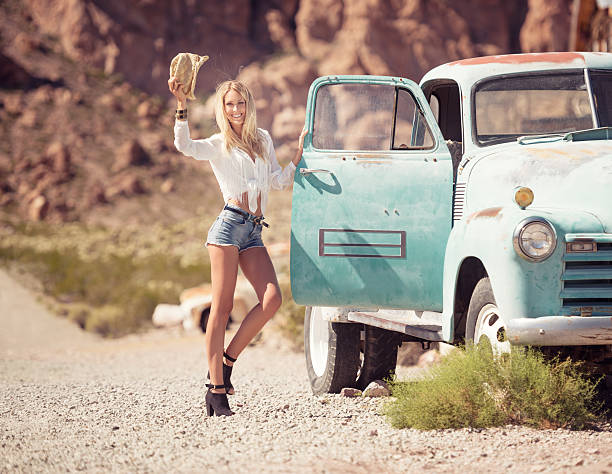 Cowgirl Fashion, Beauty with her Oldtimer