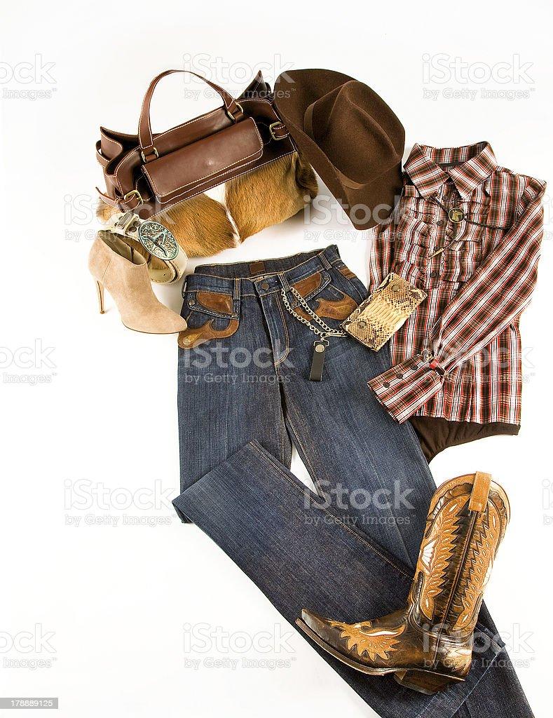 Cowgirl fashion composition stok fotoğrafı