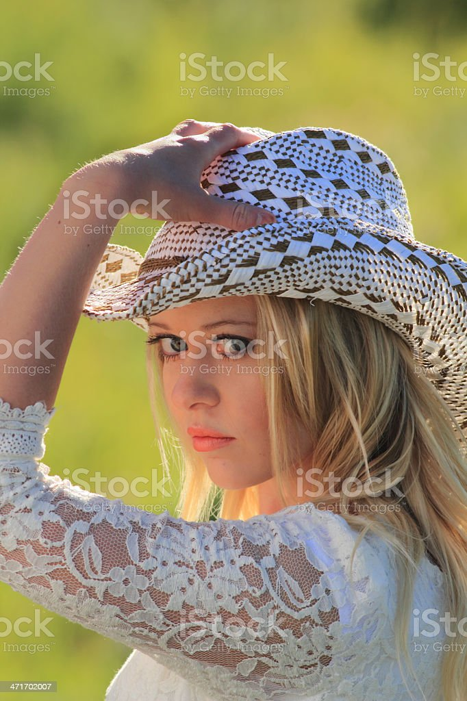 Cowgirl Glance royalty-free stock photo