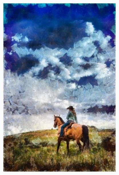cowgirl reiten - digitale foto-manipulation - malerei schuhe stock-fotos und bilder