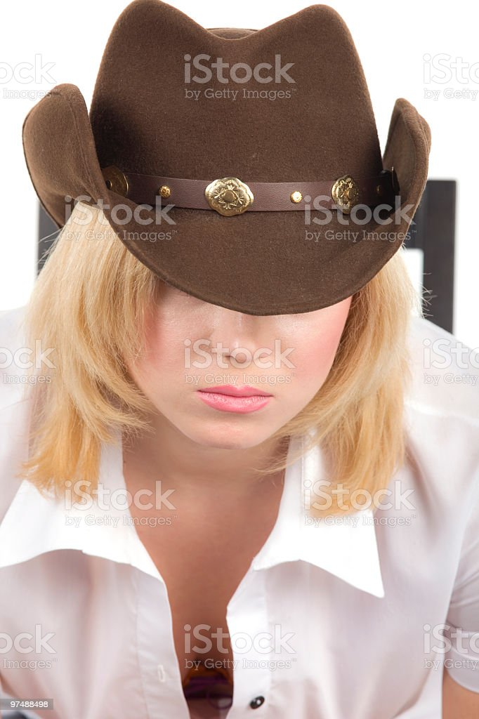cowgirl in brown hat close-up royalty-free stock photo