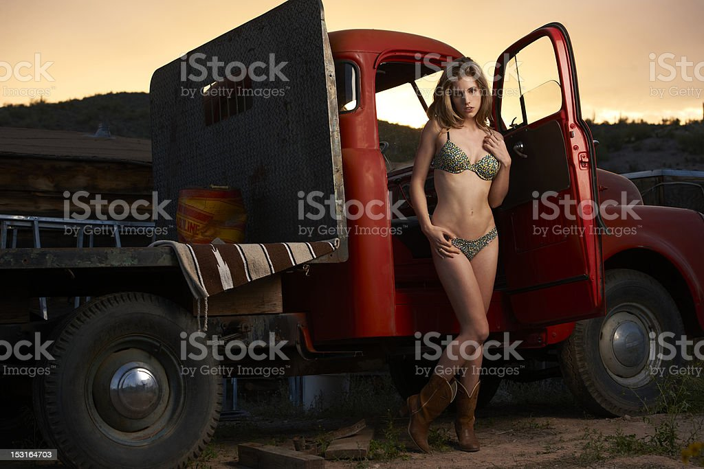 Cowgirl In Lingerie at Sunset royalty-free stock photo