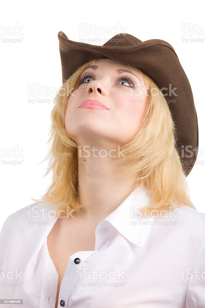 cowgirl look up royalty-free stock photo