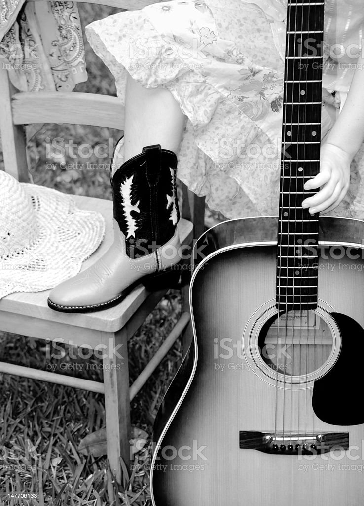 Cowgirl musician royalty-free stock photo