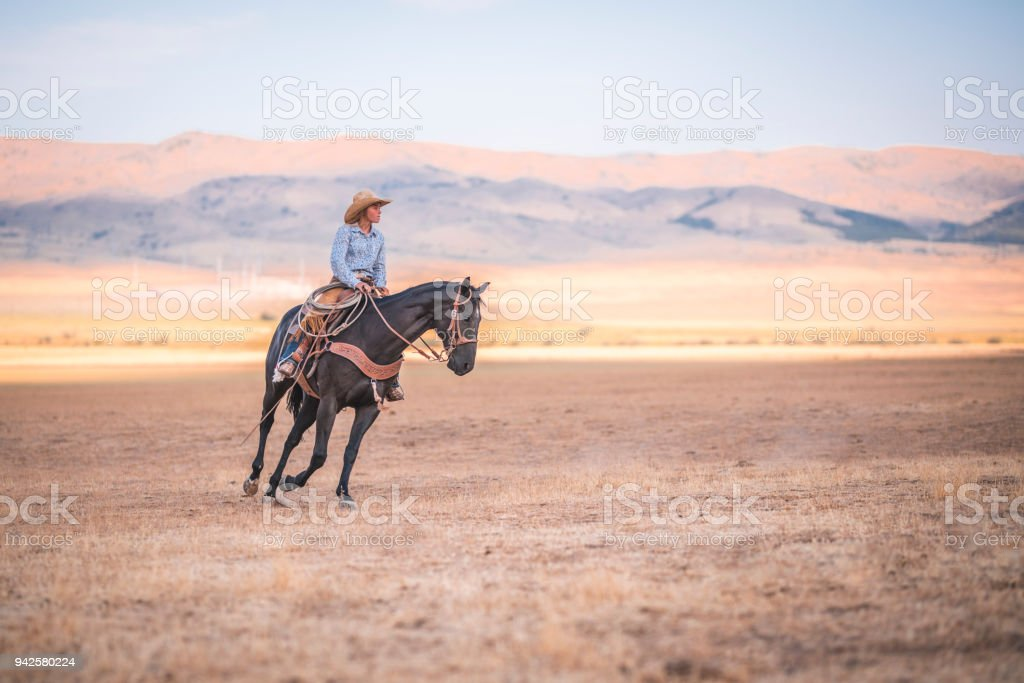 Cowgirl riding a horse in nature stock photo