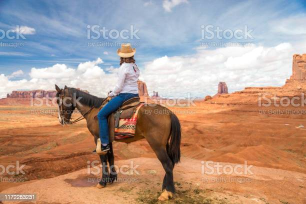 Cowgirl riding horse in monument valley navajo tribal park in usa picture id1172283231?b=1&k=6&m=1172283231&s=612x612&h=tj isoyc9wohkdj6js9 wxbntegp9pswwuxjuuy4cig=