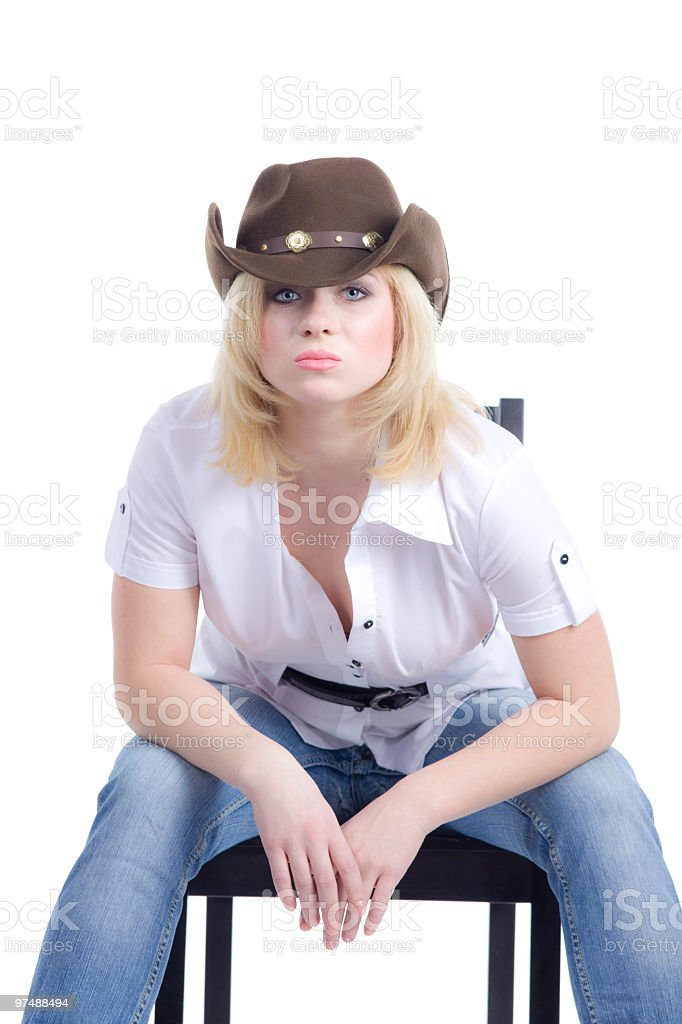cowgirl sit  and look at you royalty-free stock photo