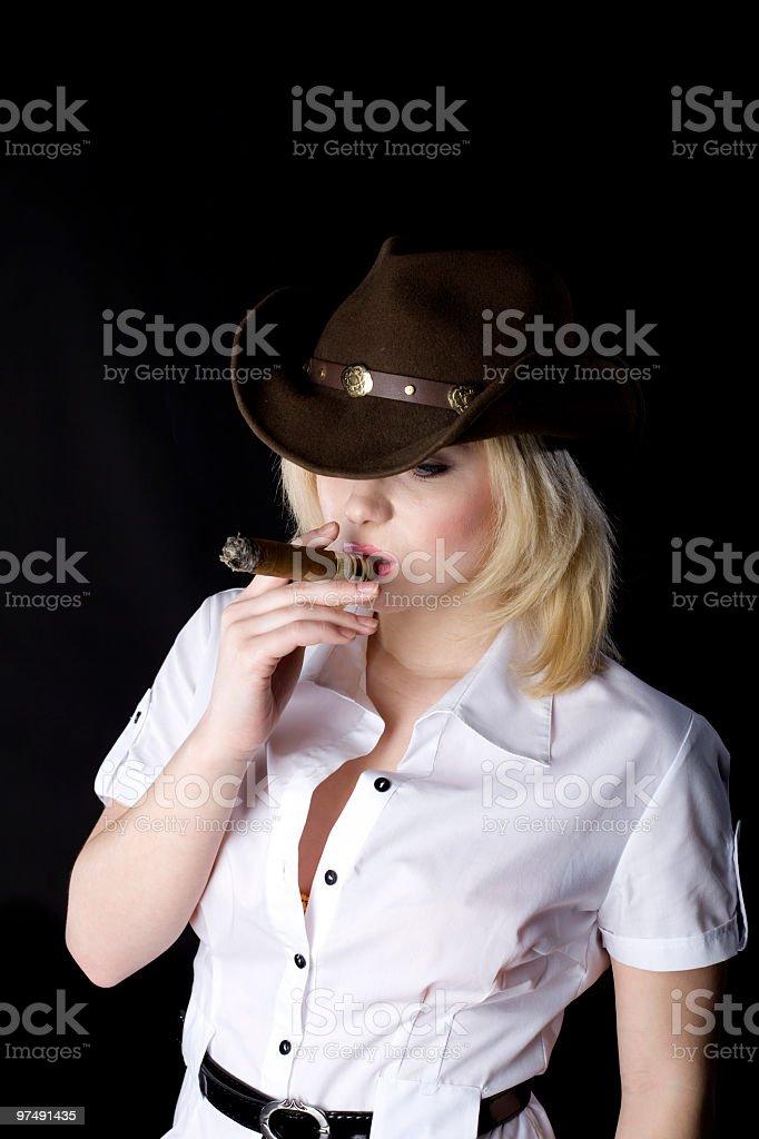 Cowgirl smoke royalty-free stock photo