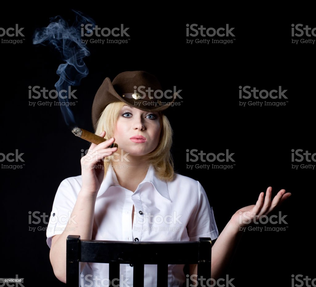 Cowgirl smoke royalty-free stock photo