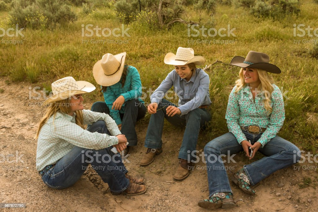 cowgirls cowboys gathered together at countryside of santaquin valley of Salt lake City SLC Utah USA