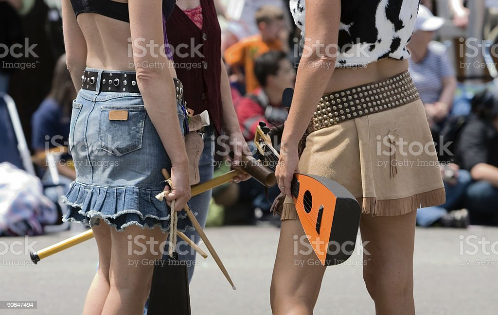 Cowgirls with musical instruments royalty-free stock photo
