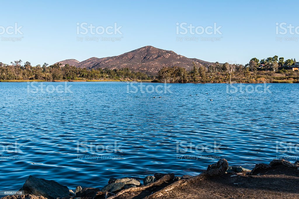 Cowles Mountain and Lake Murray in San Diego stock photo