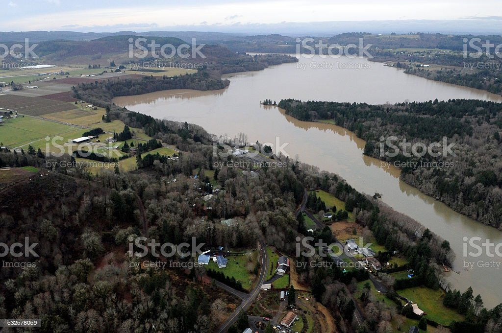 Cowlitz River flooding, Washington state stock photo