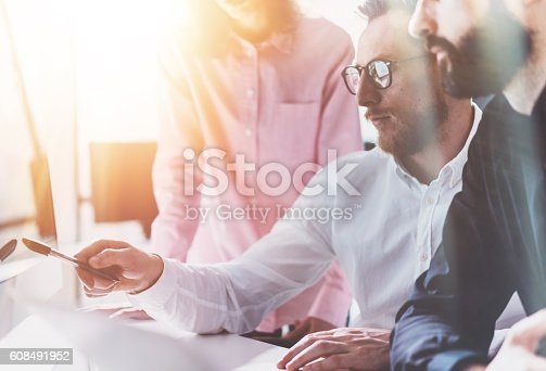 533699494istockphoto Coworkers Business Meeting Process Sunny Modern Office.Teamwork Concept.Group 608491952