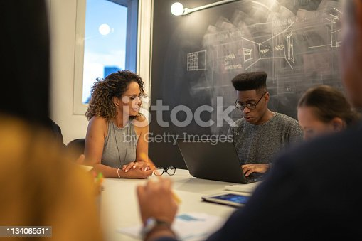 istock Coworkers having a constructive meeting in the office 1134065511