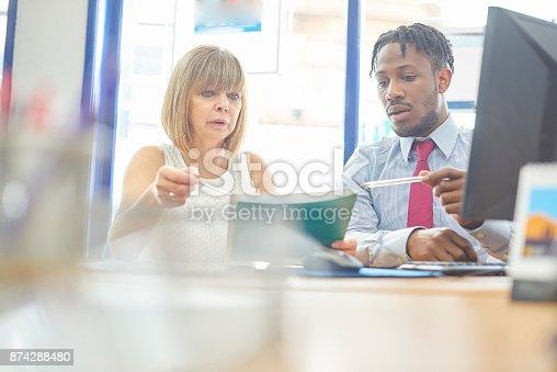 istock Coworkers in meeting 874288480