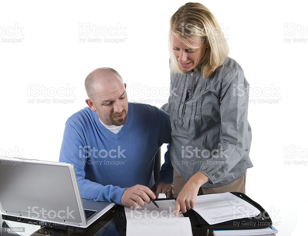 Coworkers on a project stock photo
