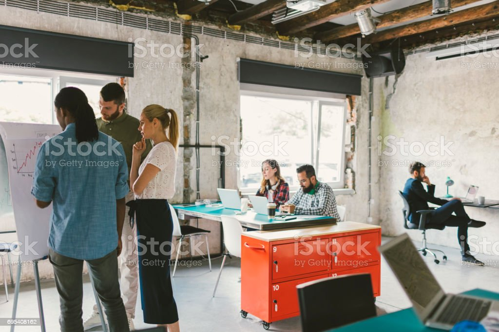 Coworkers on meeting in the open space office stock photo