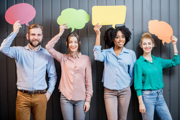 co-workers with thought bubbles - thought bubble stock photos and pictures
