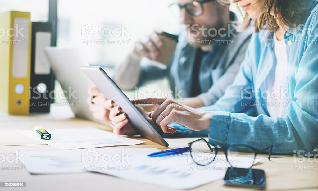 Coworkers work creative studio.Production managers team working new project stock photo