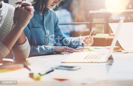 533699494istockphoto Coworkers work modern studio.Sales manager team working new project 533699570
