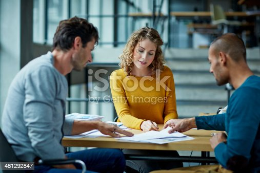 istock Coworkers working on project 481292847