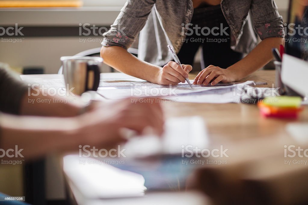 Coworkers working together stock photo