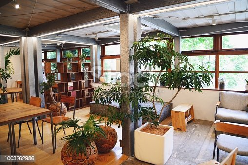 A co-working cafe with no customers in it.