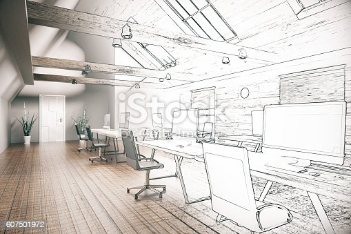 istock Coworking office unfinished project 607501972