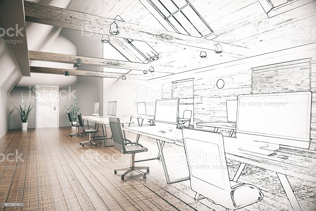 Coworking office unfinished project - foto de acervo