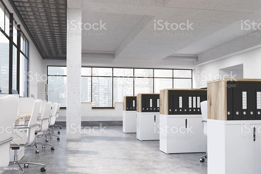 Coworking office with Singapore view royaltyfri bildbanksbilder