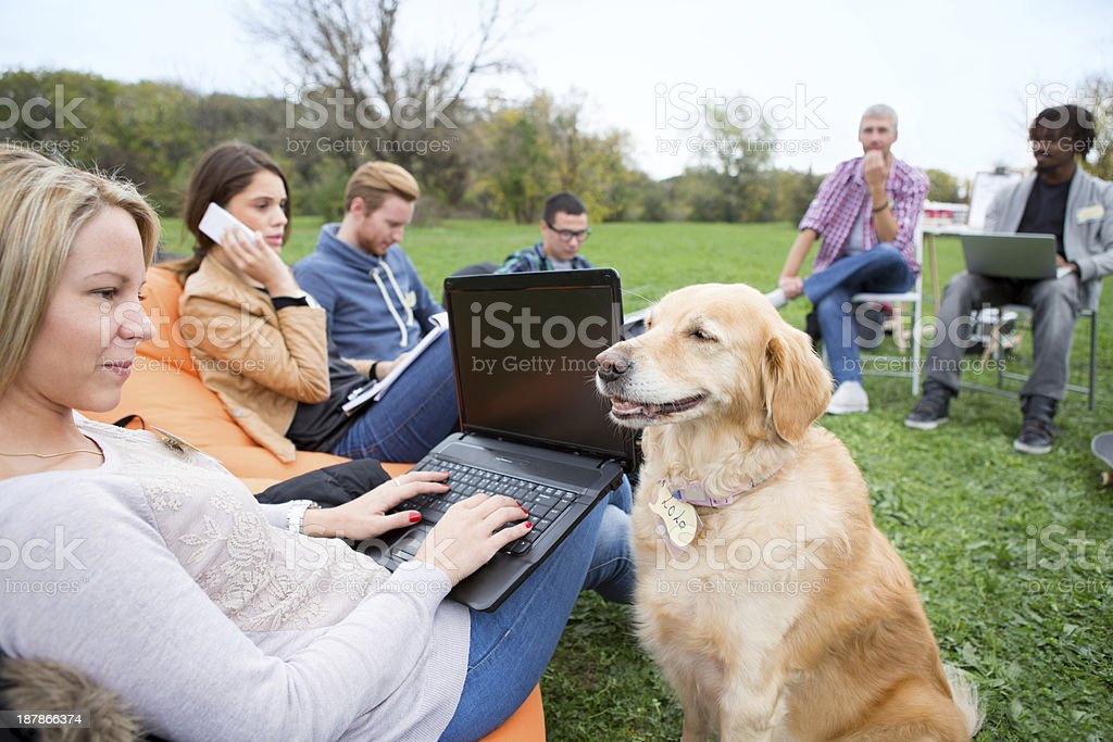 Coworking outdoors. stock photo