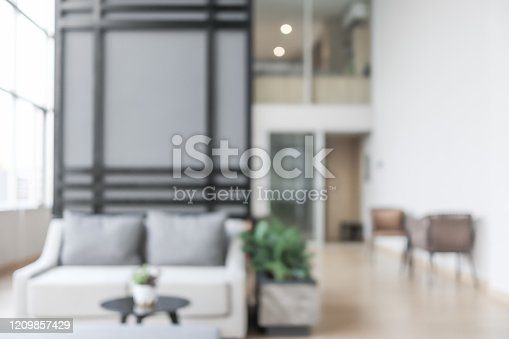 Co-working Space, Modern Office interior Background white blur. Abstract backgorund
