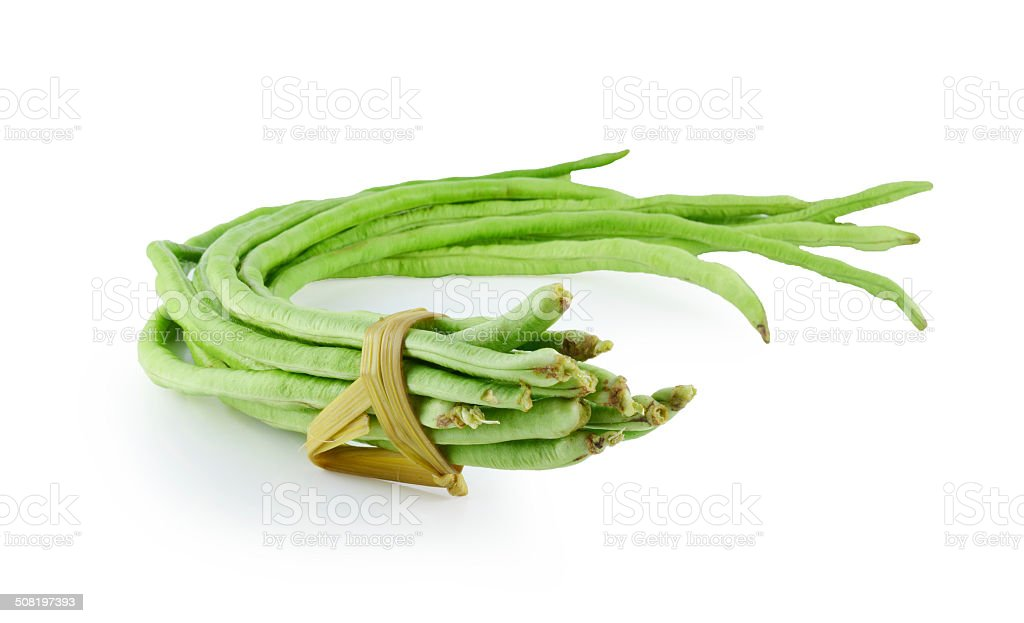 Cow-pea (long been) on white background stock photo