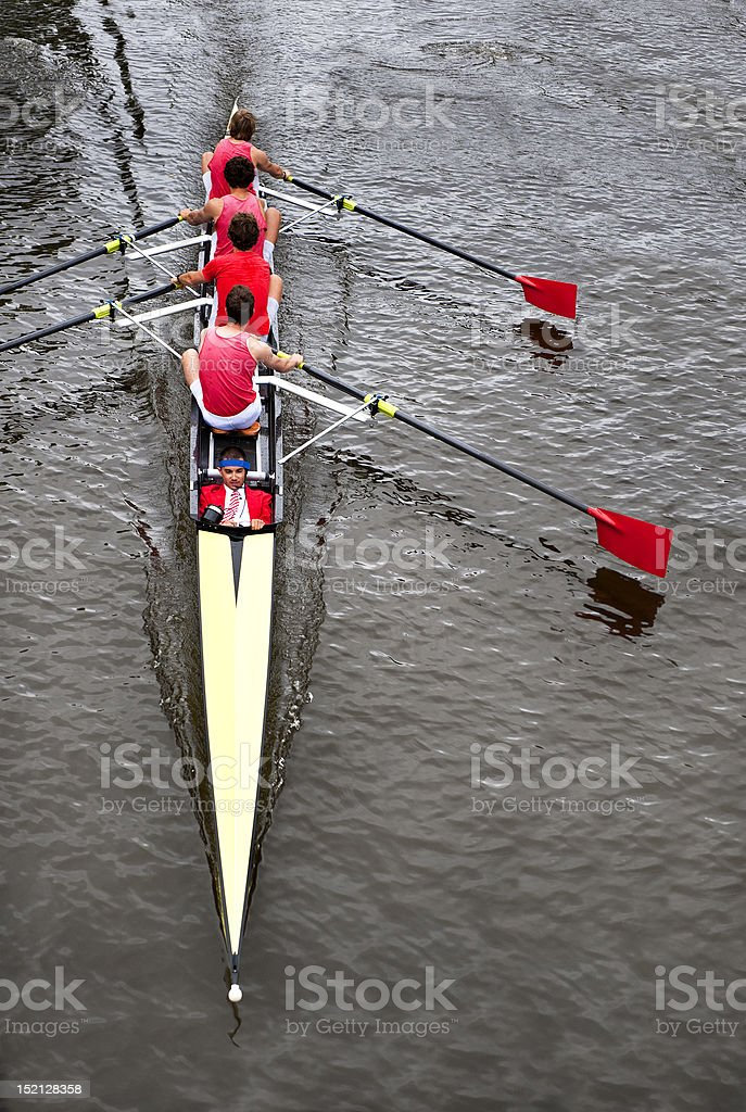 Coxed four from above stock photo