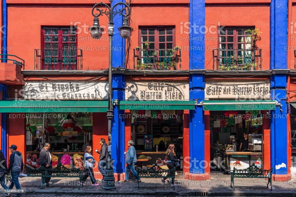Coyoacan district street scene in Mexico City stock photo