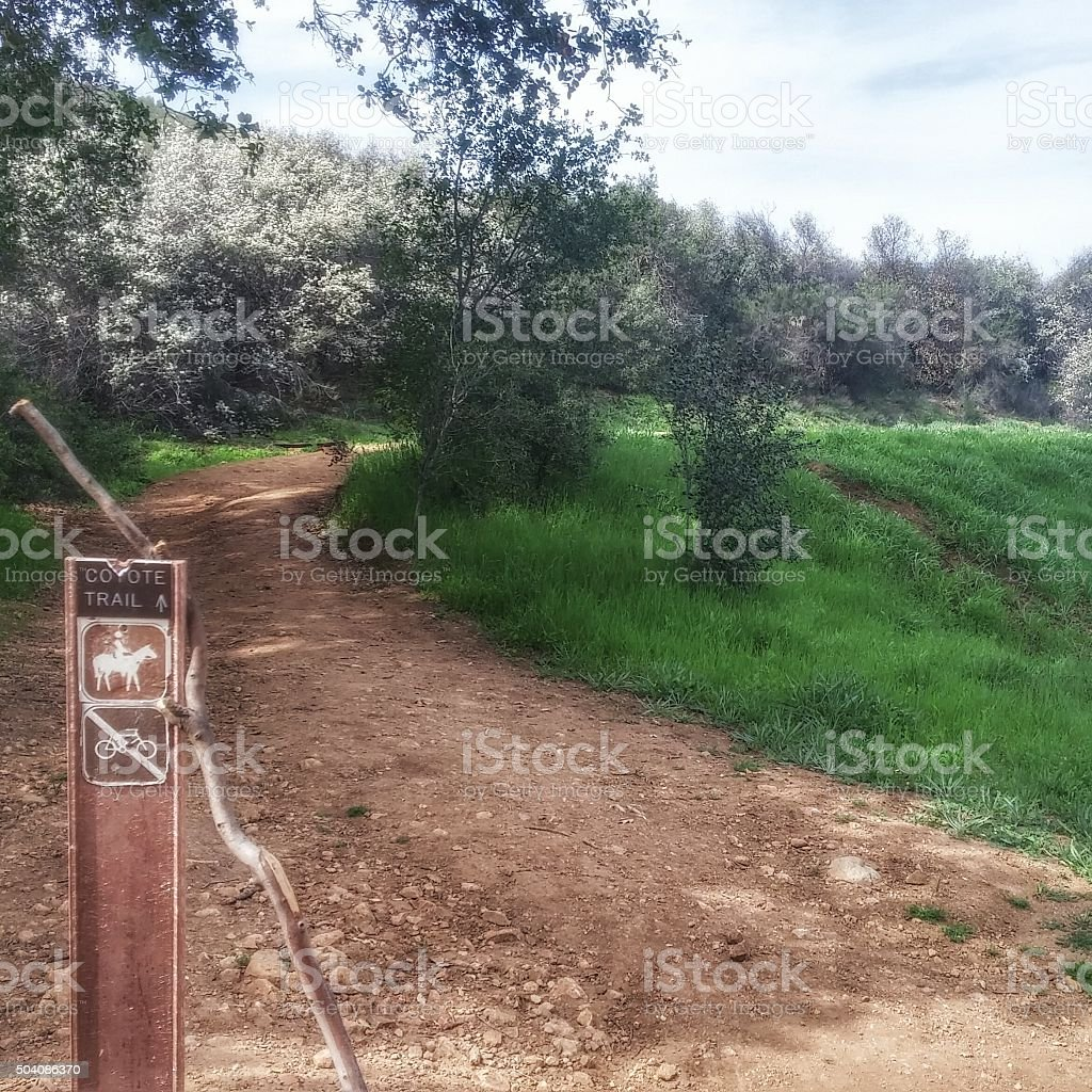 Coyote Horse, Hiker Trail Sign, Walking Stick Paramount Ranch, California stock photo