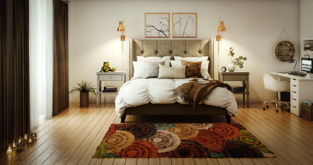 Cozy and Lovely Master Bedroom stock photo
