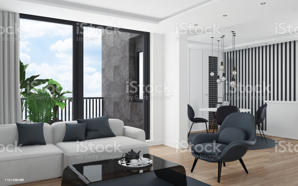 Cozy And Modern Small Apartment Design Living Room With Dining Room Stock Photo Download Image Now Istock
