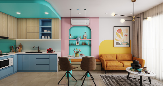 Digitally generated cozy and modern small apartment interior scene.  The scene was rendered with photorealistic shaders and lighting in Corona Renderer 6 for Autodesk® 3ds Max 2020 with some post-production added.