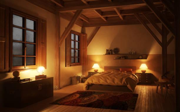 gemütliche und rustikale schlafzimmer (nacht) - nachttischleuchte stock-fotos und bilder