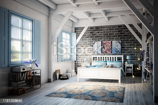 Digitally generated warm and cozy bedroom interior with rustic elements.   The scene was rendered with photorealistic shaders and lighting in Autodesk® 3ds Max 2019 with V-Ray 3.7 with some post-production added.