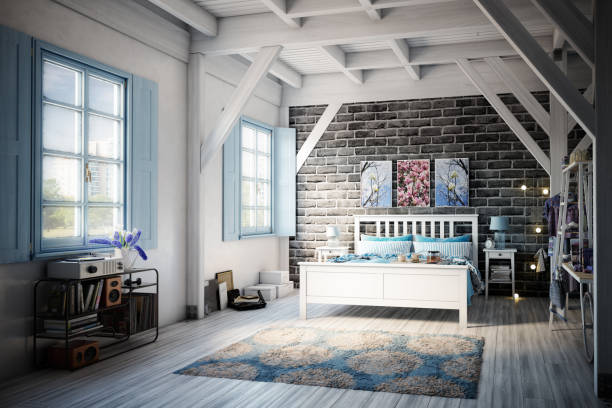 Cozy and Rustic Bedroom stock photo