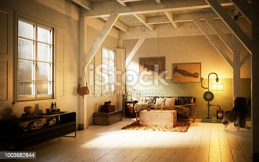 Digitally generated cozy home interior interior design with high quality DIY furniture.  The scene was rendered with photorealistic shaders and lighting in Autodesk® 3ds Max 2016 with V-Ray 3.6 with some post-production added.